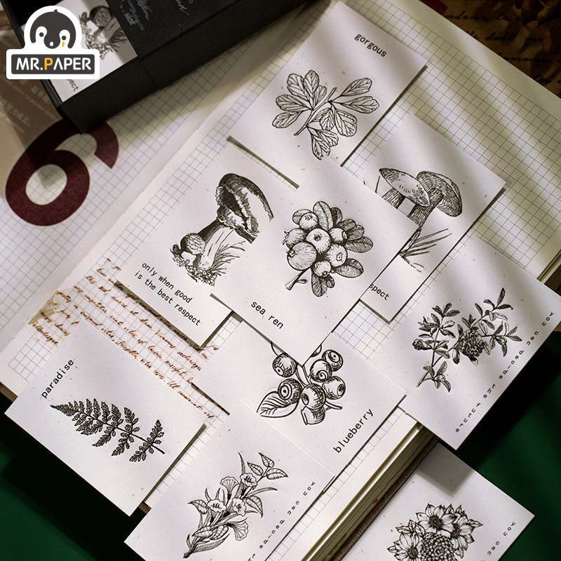 Mr.paper 40Pcs/pack 45*65mm Retro Plant Specimen White Deco DIY Plain Stickers Vintage Stickers With Material Paper Easy To Cut
