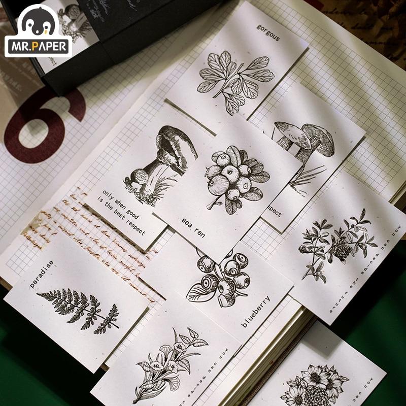 Mr.paper 40Pcs/pack 45*65mm Retro Plant Specimen White Deco DIY Plain Stickers Vintage Stickers With Material Paper Easy To Cut