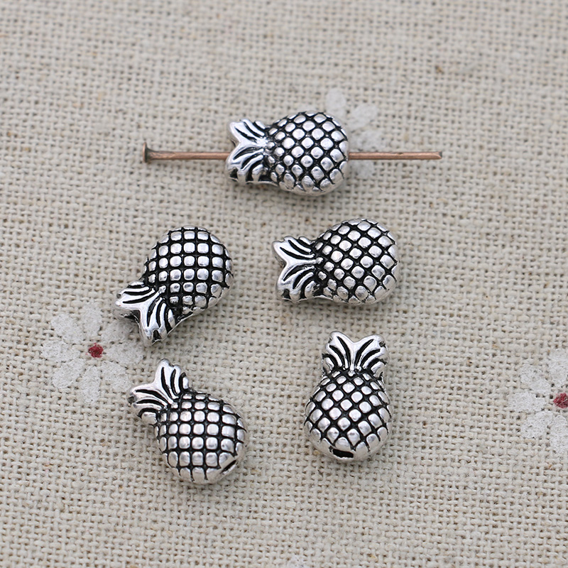 JAKONGO Antique Silver Pineapple Spacer Beads Vintage Loose Beads for Jewelry Making Bracelet Accessories DIY 13x9mm 10pcs