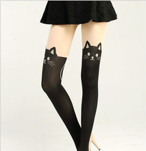 Japanese-style False Boots over-the-Knee False Legs Cartoon on Skin under Black Cat Tail Joint Silk Stockings Patyhose Stockin(China)