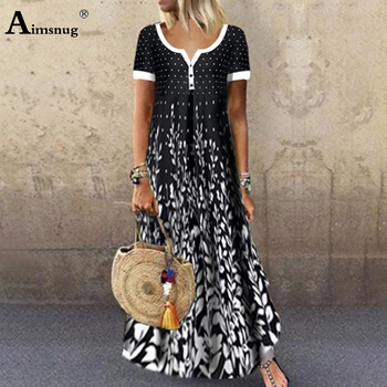 цена на Aimsnug Women Elegant Long Dress Single-Breasted V-neck Boho Print Party Dresses 2020  Ladies Vintage Button Casual Maxi Dress