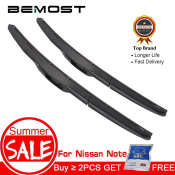 цена на BEMOST Car Natural Rubber Wiper Blades For Nissan Note 2006 2007 2008 2009 2010 2011 2012 2013 2014 2015 2016 2017 Fit Hook Arm