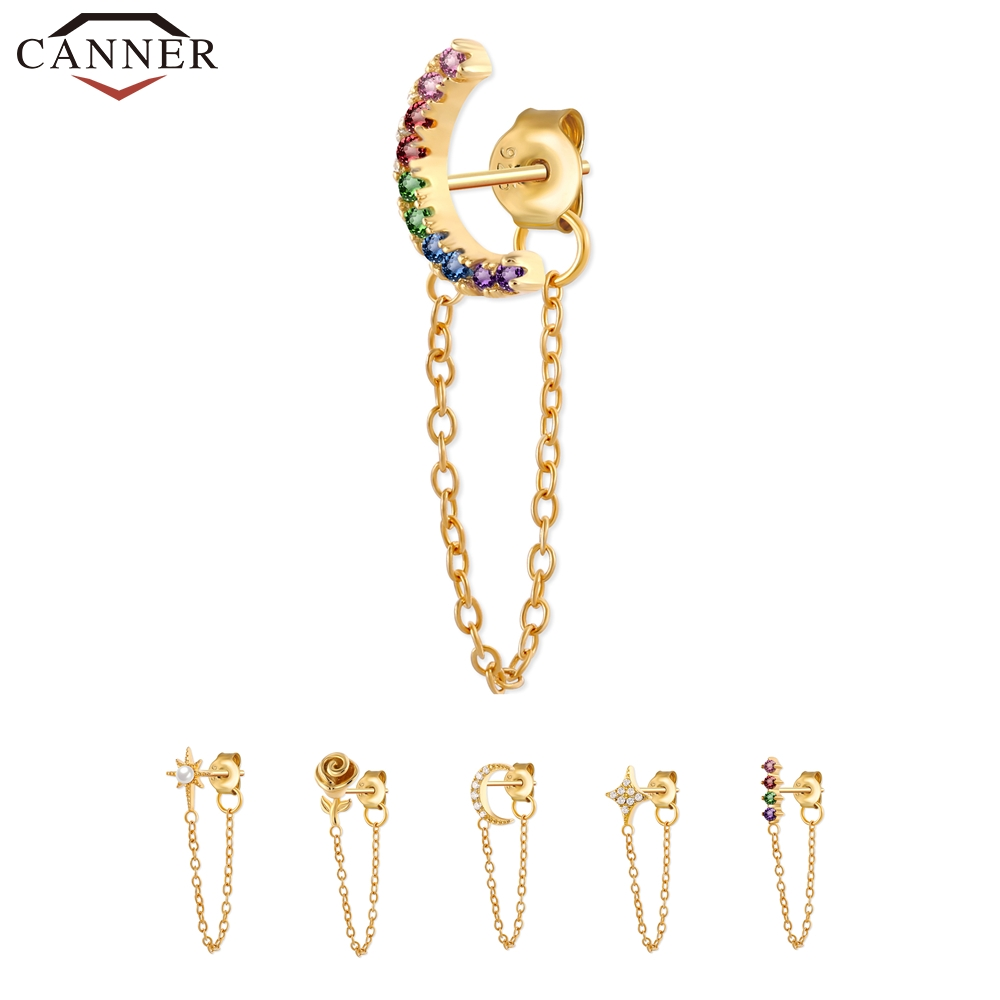 1 PC 925 Sterling Silver Crystal Zircon Chain Earring for Women Gold Silver color Rainbow Moon Star CZ Stud Earrings Ear Jewelry(China)