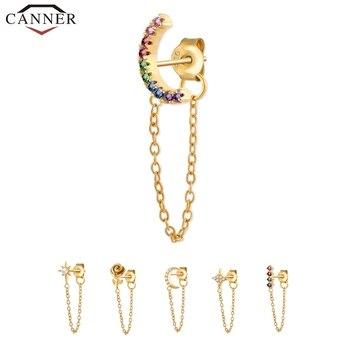 1 PC 925 Sterling Silver Crystal Zircon Chain Earring For Women Gold Silver Color Rainbow Moon Star CZ Stud Earrings Ear Jewelry