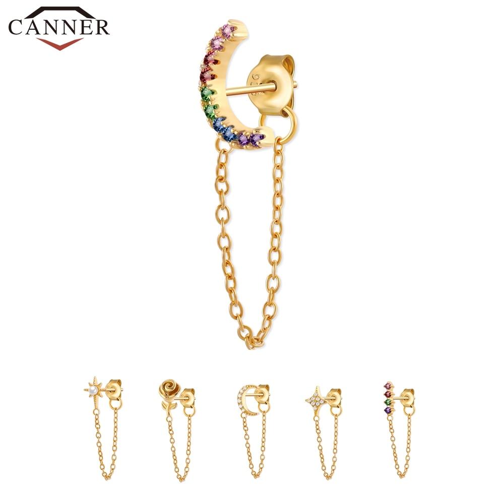2 Pc 925 Sterling Silver Crystal Zircon Chain Earring for Women Gold Silver color Rainbow Moon Star CZ Stud Earrings Ear Jewelry
