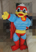 quality superduck mascot costumes professional muscle power duck costumes superman design OEM party costumes