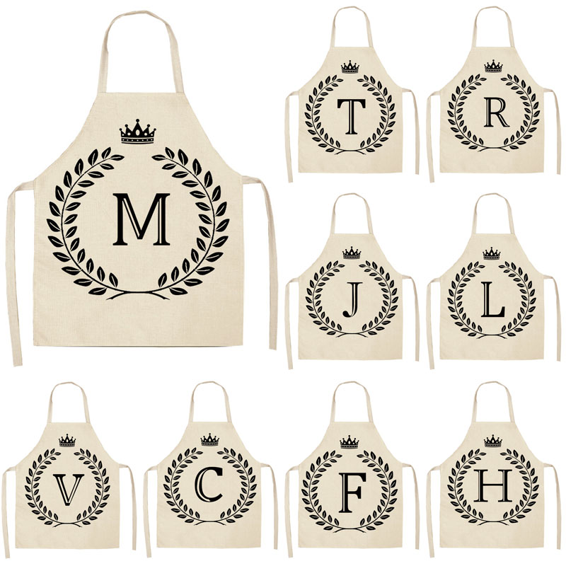 1Pcs Simple Crown Letter Printed Kitchen Apron For Woman Man Cotton Linen Aprons For Cooking Home Cleaning Tools 53*65cm
