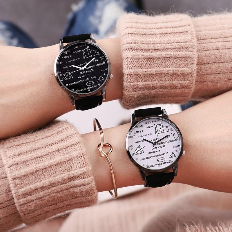 Special Desgin Geometric Watch Mathematical Formula Prints Pop Fashion Women Men's Leather Needle Length Quartz Math WristWatch