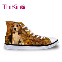 Thikin  High Top Canvas Shoes for Mal Cute Beagle Sneakers Teens Lace-up Flat shoes male Breathable vulcanized