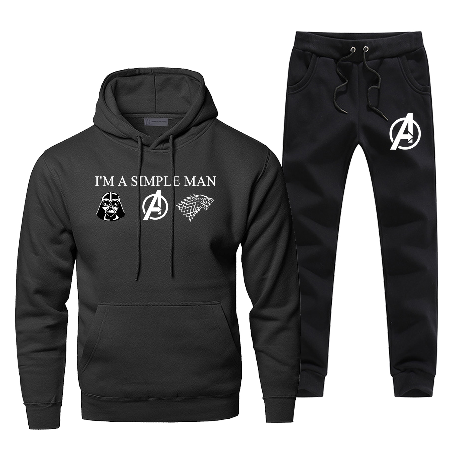 I'M A Simple Man Casual Sweatshirt Funny Star Wars Avengers Game Of Thrones Logo Hoodies Pants Sets Men Winter Fleece Streetwear