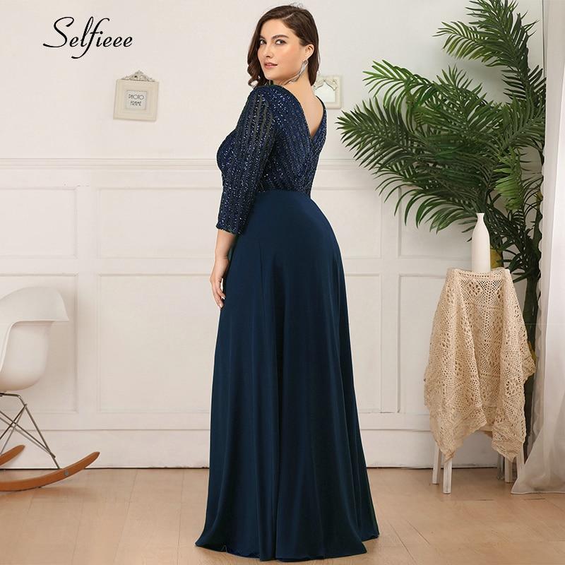 Plus Size Women Dress A-Line Double V-Neck Sequined 3/4 Sleeve Sparkle Formal Party Dress Ladies Elegant Maxi Dress Vestidos