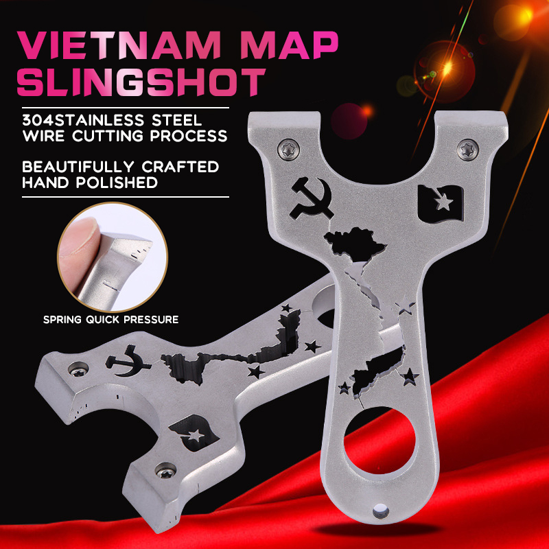 304 Stainless Steel Map Slingshot Vietnam Map Catapult Flat Leather Precision Clip UFO Sling Shot With Flat Rubber Band