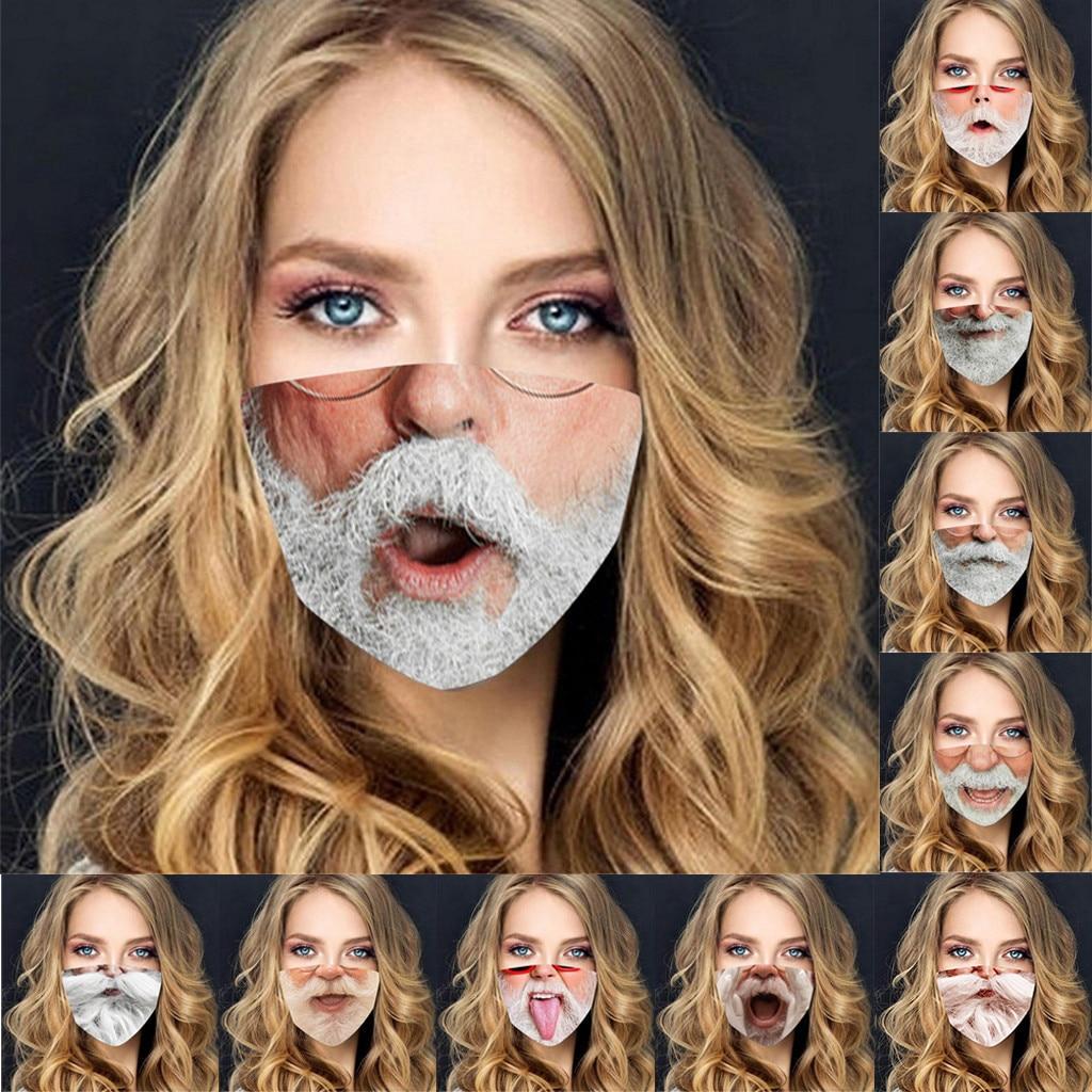Adulte drôle visage couverture respirant Santa barbe impression cyclisme masque bouche casquettes couvre lavable Proteccion Mondmaskers Mascherine