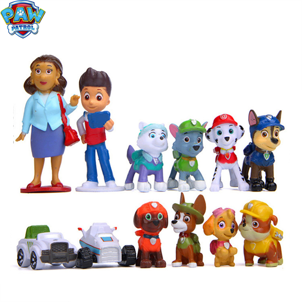 12pcs Paw Patrol Birthday Cake Decoration Puppy Patrol PVC Action Figures Patroling Canine Kids Toys For Children Gifts 2D08