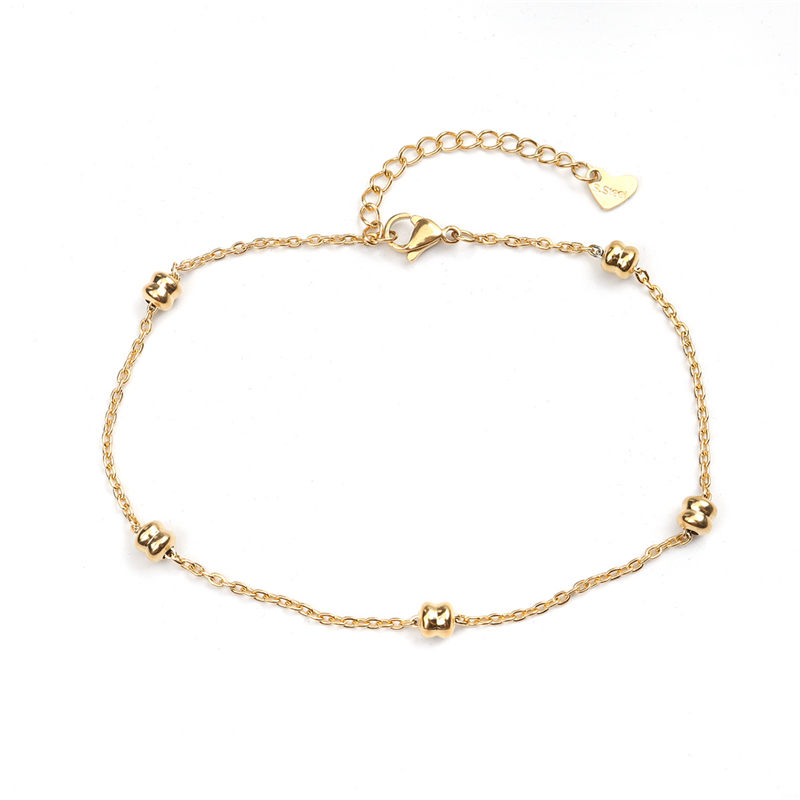 Fashion Stainless Steel Anklet Simple Gold On Foot Ankle Bracelets For Women Men Leg Chain Jewelry Gift 23.5cm - 22cm Long 1 PC