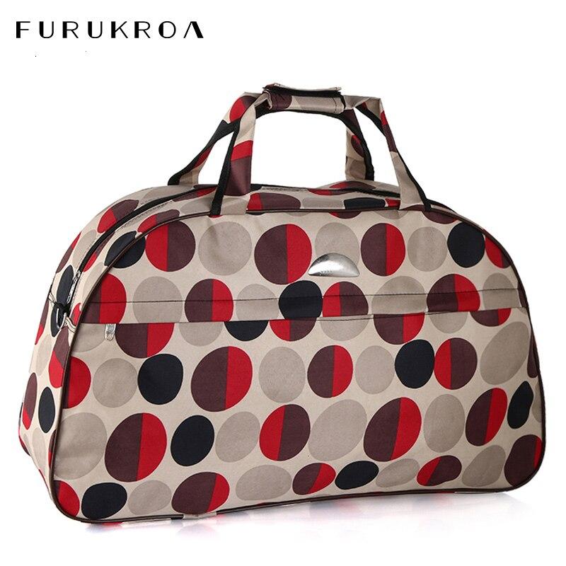 Lovely Women Dot Travel Bag Girls Fitness Duffle Shoulder Bags Nylon Handbag Weekend Tote Big Bag Bolso Deporte Gimnasio XA694WB