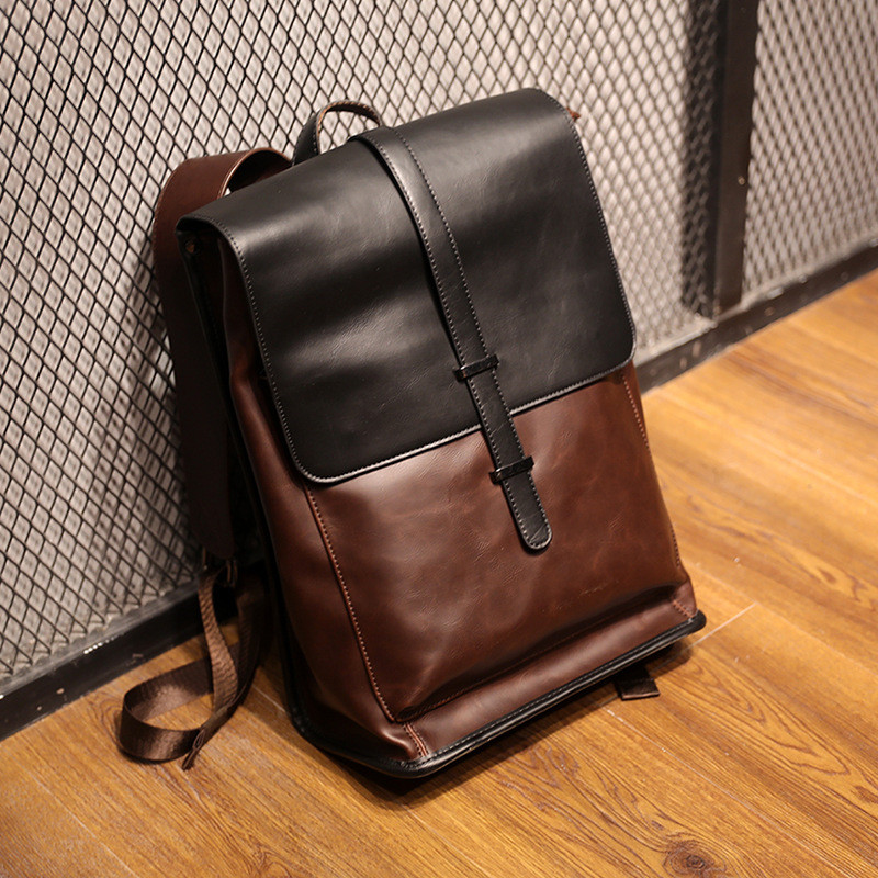 US Men Leather Backpack Waterproof Laptop School Shoulder Bag Travel Rucksack