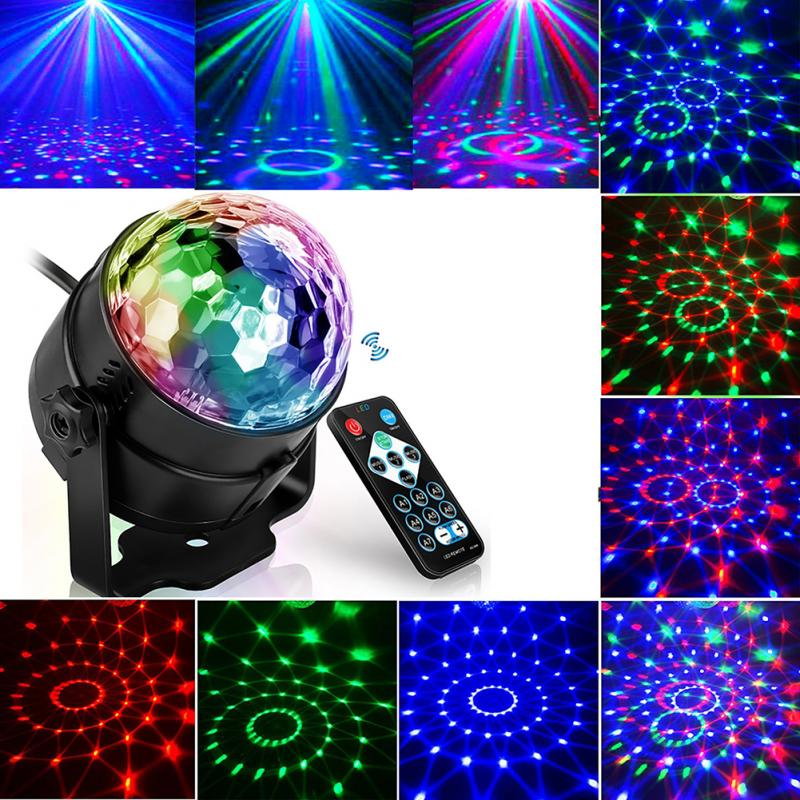7 Colors Laser Projector Disco Ball Lumiere Sound Activated Party Lights Strobe Light 3W RGB LED Stage Lights For Home KTV Xmas