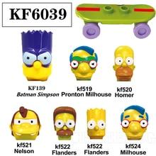 Toys Building-Blocks Bart Simpsones Family Homer Milhouse Children for KF6039 Model Action