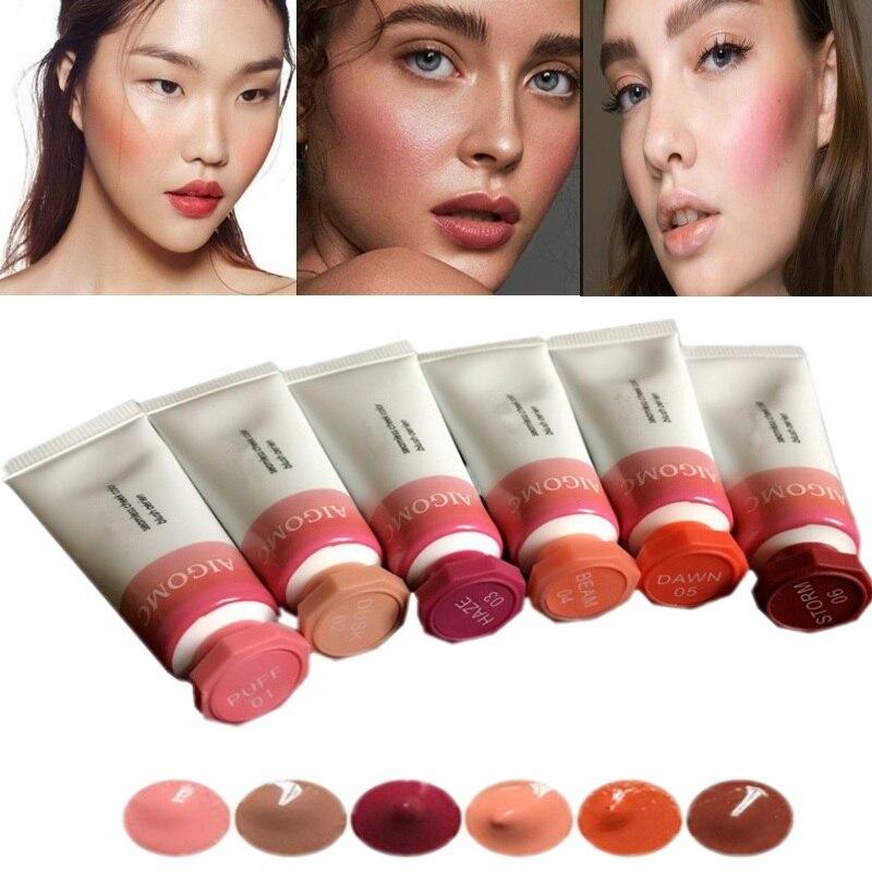 Cream Makeup Blush Facial-Contour Cosmetic 6-Color Red Gel Natural Lasting
