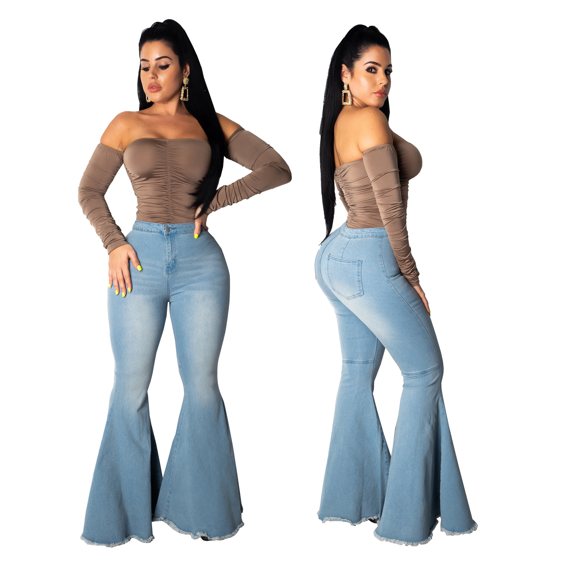 2020 Summer Ladies New High Waist Flare Jeans Wide Leg Jeans For Women Denim Skinny Womans Jeans Female Plus Size XXL Jeans Mom