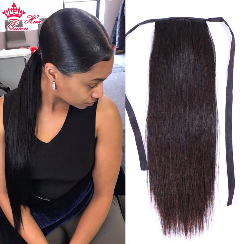 Queen Hair Straight Ponytail 100% Human Hair Drawstring Ponytail With Clips in For Women Brazilian Virgin Hair 1 Piece