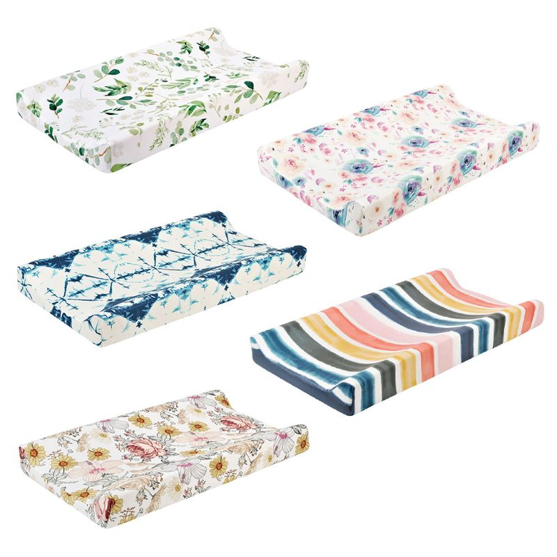 Baby Changing Pad Cover Floral Print Fitted Crib Sheet Infant or Toddler Bed Nursery Unisex Diaper Table