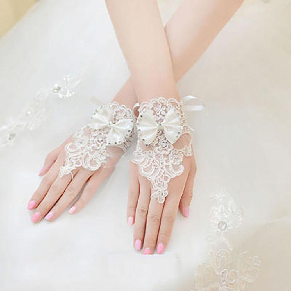 Women Elegant Fashion Brides Rhinestone White Lace Short Gloves Fingerless Floral Bowknot Gloves