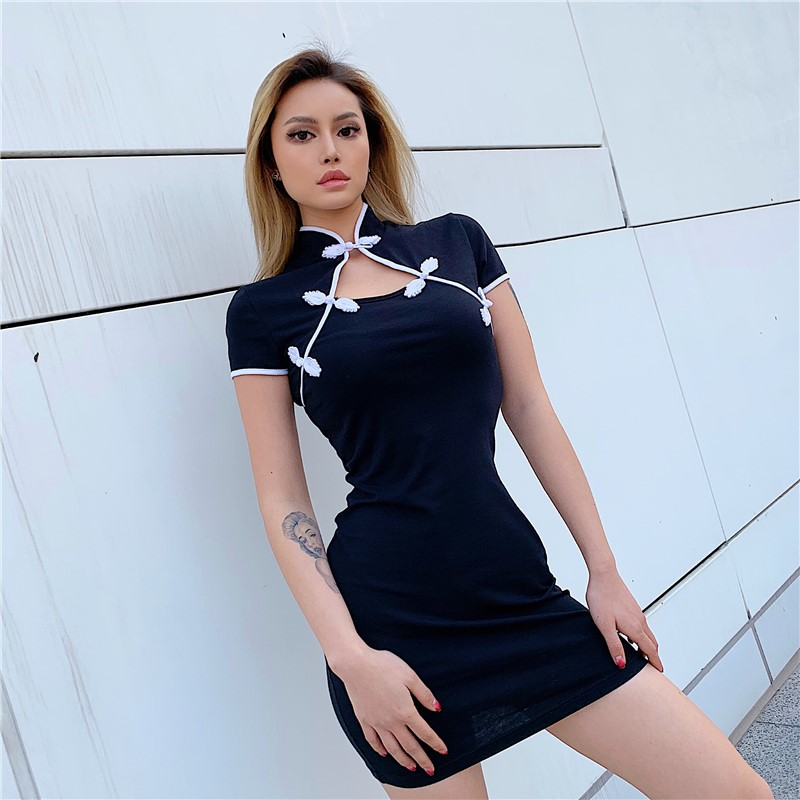 Style Stand Collar Cut Out Mini Dress
