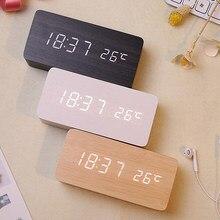 Usb/aaa relógios led despertador de madeira relógio de mesa controle voz digital madeira eletrônico mesa decoração