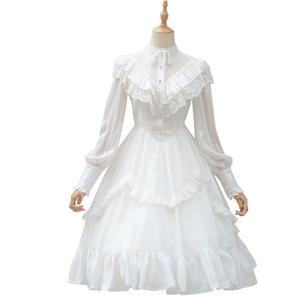 Image 2 - Vintage Long Sheer Sleeve Casual Dress Lace Ruffled Illusion Neck Midi Gothic Party Dress