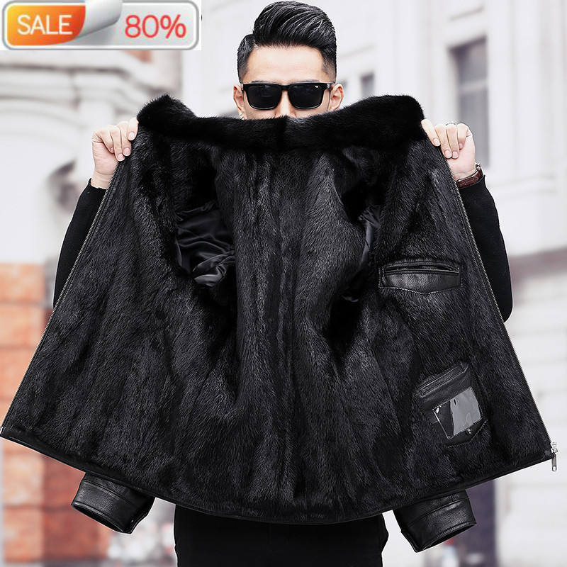 Men's Real Fur Coat Winter Genuine Jacket Men Goatskin Leather Warm Mens Mink Coats A19-17A57 B23A14