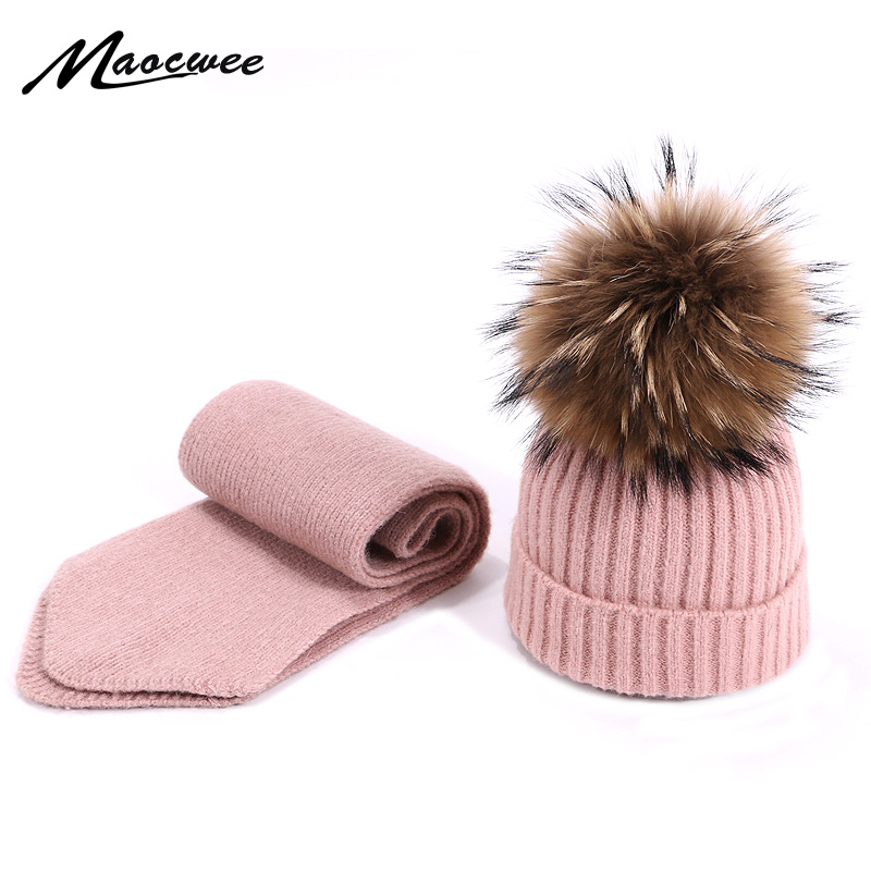 Scarf Hat Set Children Skullies Beanies PomPon Ball For Knitting Autumn And Winter Warm Solid Color White Girl Outdoor Natural