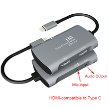 4K Video capture Card 1080P USB 2.0 MIC In Type C HDMI-compatible Audio Video Capture Device Phone Game Record PC Live Streaming