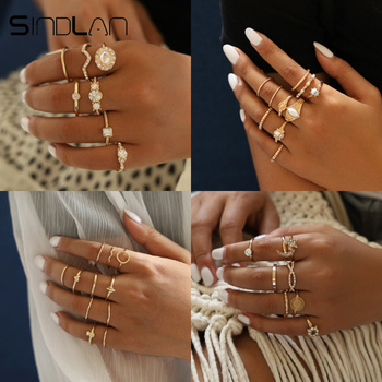 Sindlan Vintage Gold Crystal Rings Set For Women Geometric Flower Moon Pineapple Crown Charm Boho Rings Fashion Finger Jewelry
