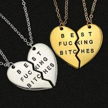 Melhor cadelas colar 2 peças coração quebrado amor ouro prata cor pingente melhores amigos venda moda amizade jóias atacado