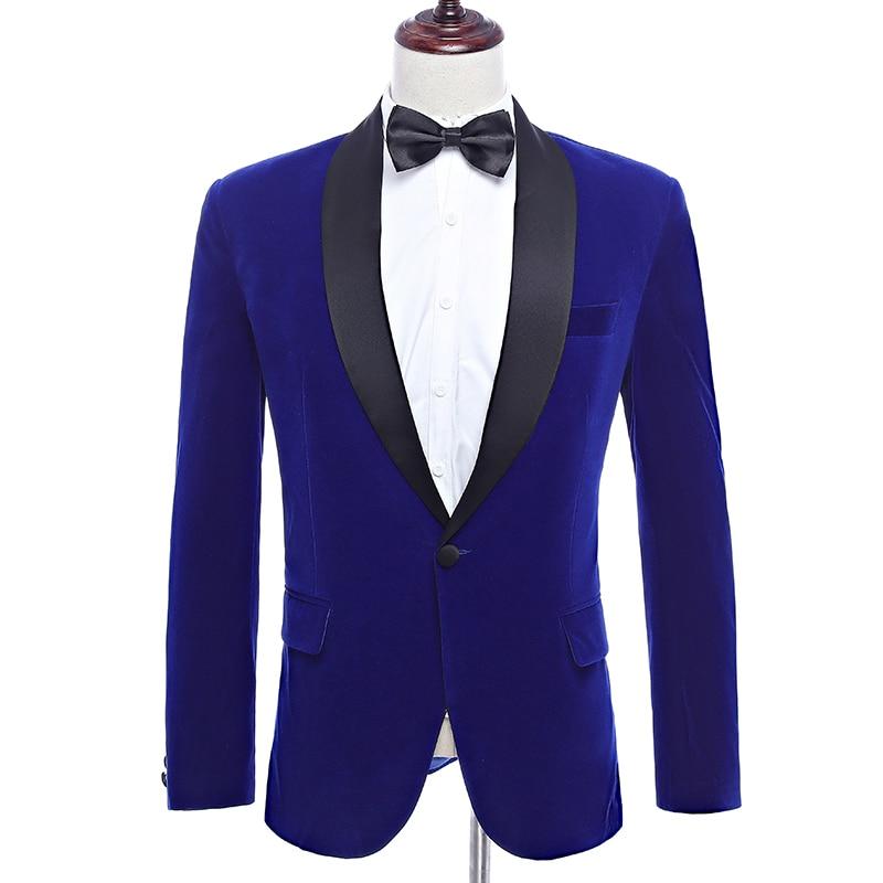 2020 Blue Velveteen Blazer Men Fall Winter Slim Fit Casual Suit Jacket Mens One-button Business Suit Coats