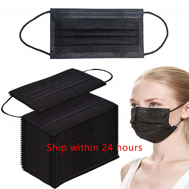 20/50/100pcs Black Mouth Face Mask 3 Layers Activated Bamboo Carbon Prevent Anti-Dust Bacteria Repeatability Civil Mask Mouth