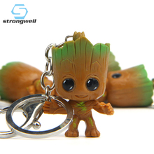 Strongwell Baby Groot Keys Chain Tree Man Model Marvel Guardians Doll The Galaxy Avengers Decoration Figurine Kid Cartoon