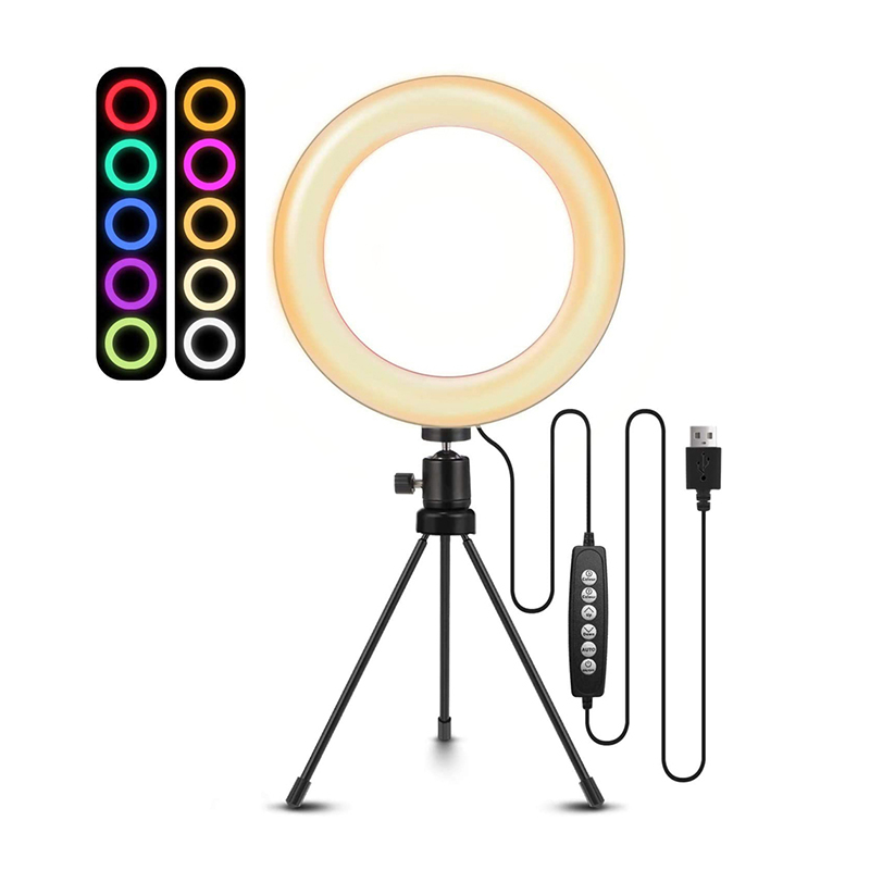 8inch RGB Selfie Ring Light with Tripod Stand  amp  Remote LED Ring Lamp Dimmable Desktop Selfie for Makeup Youtube Live Stream