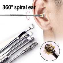 Catadores de 5 Pçs/set Ear Wax Earpick Wax Remover Cureta de Aço Inoxidável Escolha Ear Cleaner Ear Cleaner Colher Cuidado Da Orelha Ferramenta de Limpeza