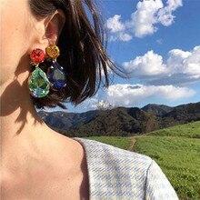 2019 New ZA Crystal Earrings Rhinestone Waterdrop Long Big Dangle Drop Earrings for Women Large Earings Vintage Wedding Jewelry