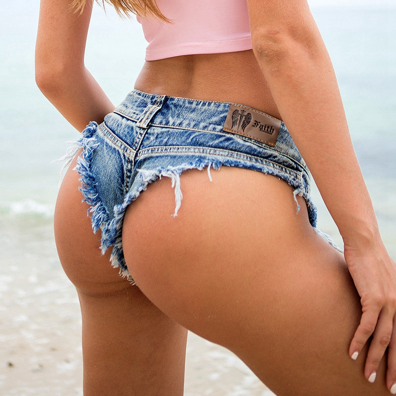 2020 Fashion Mini Shorts Hot Sexy High Waist Shorts Women Denim Thong Shorts Jeans Summer Ladies Skinny NightClub Bikini Shorts