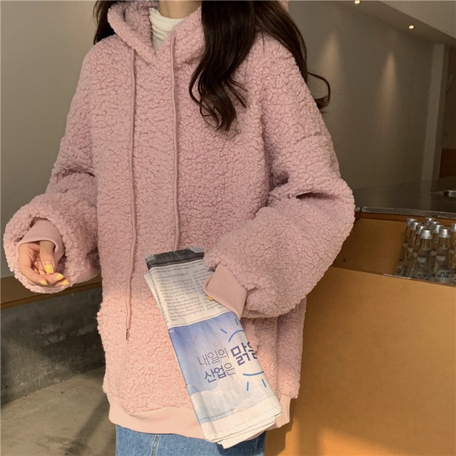 QRWR 2020 Women Hoodie Korean Style Winter Casual Cute Kawaii Warm Sweatshirt Loose Female Pocket Oversized Hoodies for Girls 4