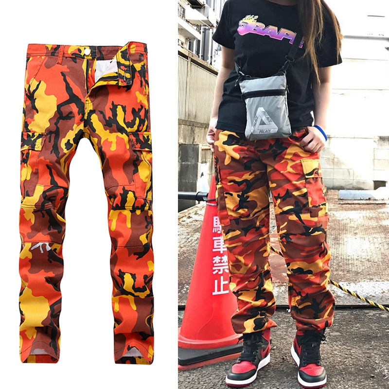 Europe And America INS Camouflage Bib Overall Pocket Closing Foot Loose-Fit Jie Wu Ku Trend Versatile BF Style High Street Men's