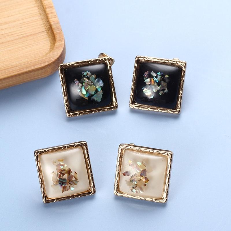 Stud Clip Earrings Square Resin Girls Vintage Clip On Earrings Geometric Non Pierced Ears Simple Desinger Accesories For Women