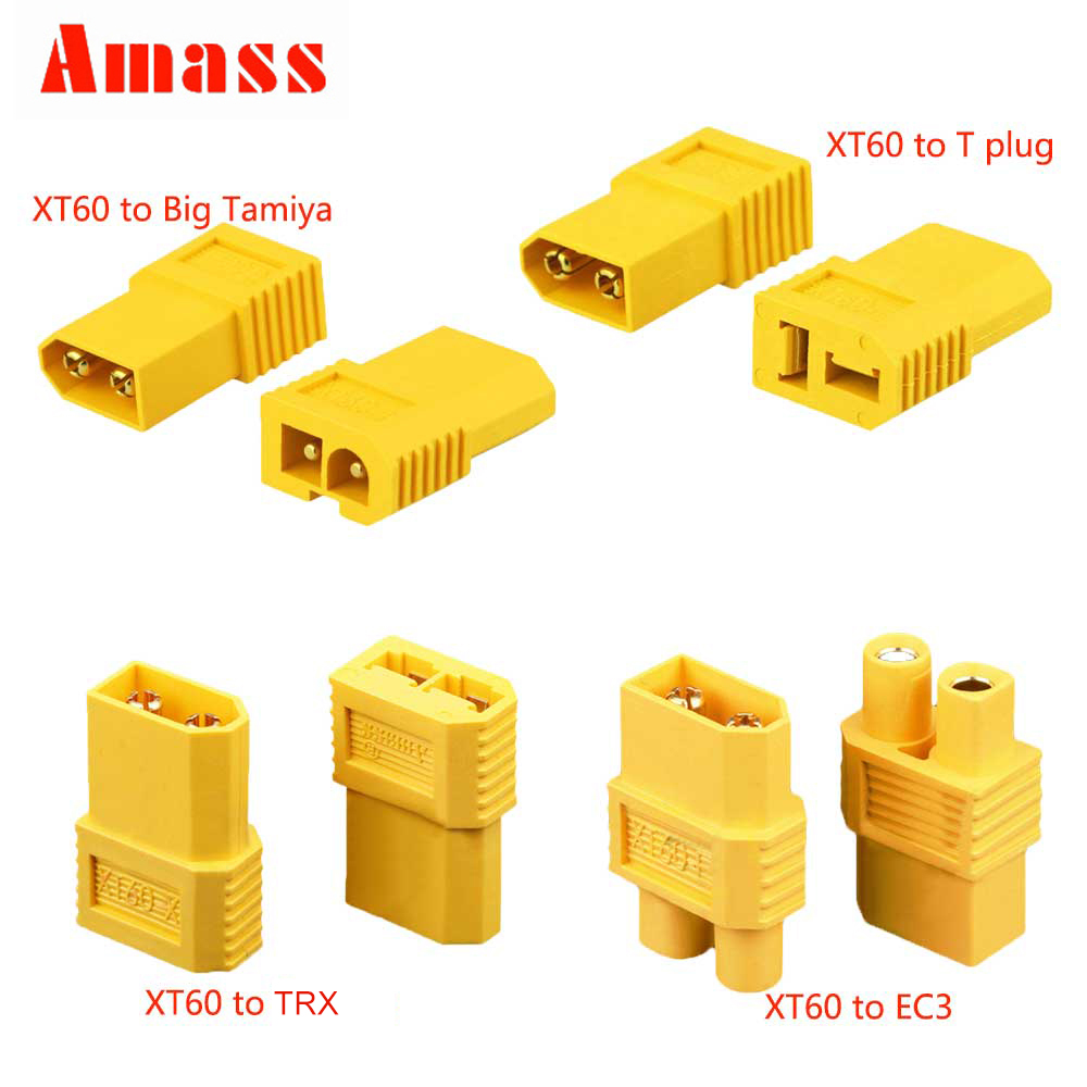 AMASS XT60 XT 60 XT-60 Male To T DEAN Connector EC3 TRX Big Tamiya Plug Female Converter Adapter For RC Lipo Battery