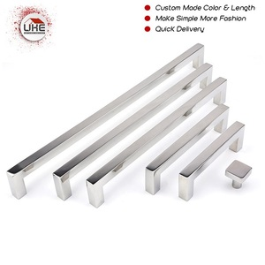 UKE Mirror Chrome Furniture Handle Stainless Steel Door Pull Kitchen Wardrobe Knob Square Cupboard Handle