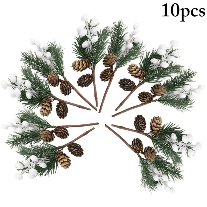 10pcs Christmas Berry Pick Pinecone Simulated Pine Needle Branch Small Pine Twig For Wedding Party Floral Decor Flower Crafts