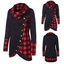 Womens Long Sleeve Plaid Turtleneck Tartan Tunic Sweatshirt Pullover Tops Slouch Pullover Lattice Buttons Tops Brand New 2020